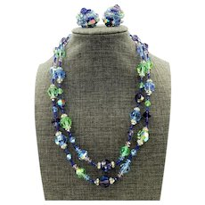 Vendome Blue Crystal Double Strand Necklace and Matching Earrings