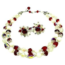 Vendome double strand choker length crystal bead necklace and earring set in red and white