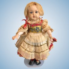 All Original Vintage German Schildkrot Celluloid doll with composition body