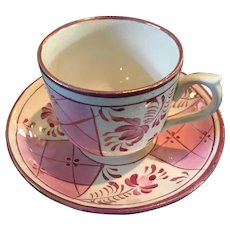 """Pink Luster """"Berries"""" Cup & Saucer"""