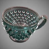 Punch Cup -Blue Glass Hobnail w/Rolled Handle