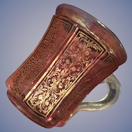 Bohemian Faceted Gilt Ruby Glass Mug -ca:1840-1860