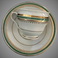Luster Cup & Saucer - Green&Gold Bands