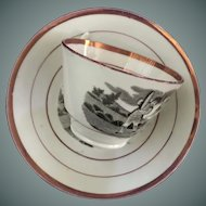 Luster Cup and Saucer - Children Scene