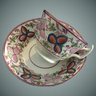 Pink Luster Cup & Saucer - ca: 1800's