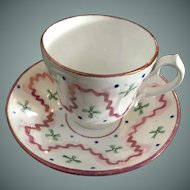Pink Luster Cup & Saucer - ca: 1850
