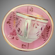 Pink Luster Small Cup & Saucer - ca: 1850's