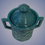 Milk Glass Turquoise Handled Sugar & Lid - ca: 1890's