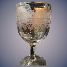 """Goblets - Etched Glass (3) """"Heisey"""""""