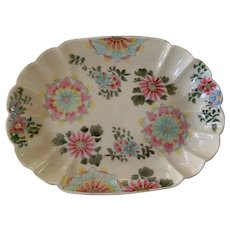 Chinese Famille Rose/Pale Celadon Oval Dish - ca: 1800's