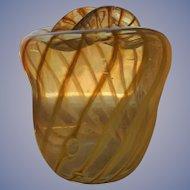 Moss Green/Gold Swirl Stripped Blown Glass Vase