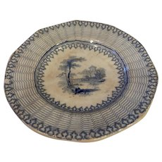 Blue and White Small Staffordshire plate