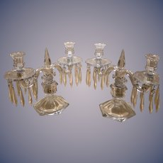 Candelabra - Pair with dangling prisms