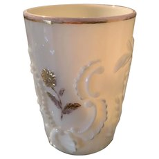 "Tumbler - Custard with Luster ""Northwood Louis XV"" ca: 1899"