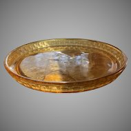 Amber Serving Tray with Etched Scene - ca: 1880's