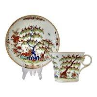 Rare Chamberlain Worcester cup & saucer, dragon & peach, c.1815