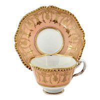 Flight Barr & Barr salmon and gilt cup & saucer, ca. 1825