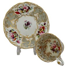 Coalport 'Adelaide' cup & saucer, finely decorated, c.1830