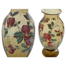 Captivating Art Nouveau Bohemian glass vase, painted with sweet pea