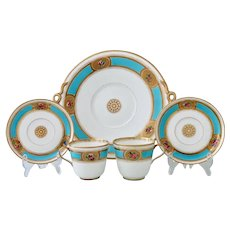 Brown-Westhead, Moore part tea set, turquoise and flowers on gold, c1865