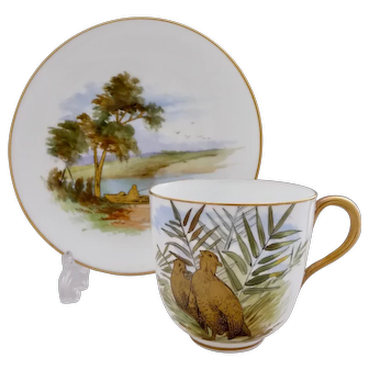 Brown-Westhead, Moore eggshell cup & saucer with grouse, c1882