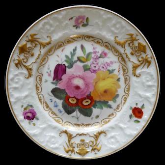 Chamberlain dessert plate, rare moulded border, c1816-20