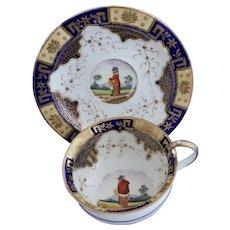 James & Ralph Clews breakfast cup & saucer, rustic figure, c.1822