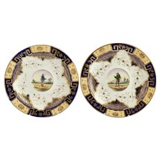 James & Ralph Clews pair of breakfast saucers, country anglers, c.1822