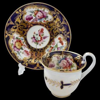 Gorgeous Coalport 'Etruscan' cup and saucer, circa 1820
