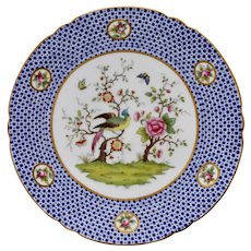 Delightful Copeland plate with peacock, peony and butterflies, 1912