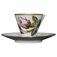 Iconic George Jones cup & saucer with wild roses, c.1876