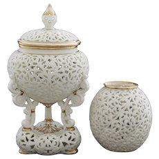 Grainger Worcester pierced potpourri vases, 1880s