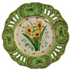 John Ridgway plate, daffodils and pierced border, circa 1850