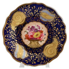 John & William Ridgway teapot stand, flower baskets and seashells, c1814