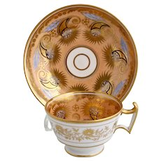 John & William Ridgway cornucopia on apricot cup & saucer, c1814