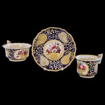 Dazzling tea & coffee trio by John and William Ridgway, 1820-25 (A)