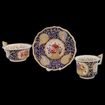 Dazzling tea & coffee trio by John and William Ridgway, 1820-25 (B)