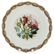 Minton plate, wild roses & twisted garlands, 1859