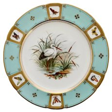 Minton cabinet plate, white stork and butterflies, 1868
