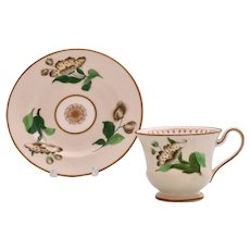 Rare Minton 'French shape B' coffee cup & saucer with tree blossoms, c.1827-30