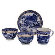 New Hall 'Trench Mortar' tea bowls, coffee cup & saucer, 1785-1795