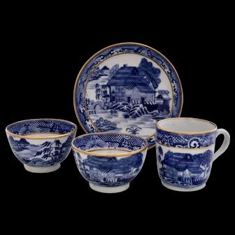 New Hall 'Trench Mortar' tea bowls, coffee cup & saucer, 1785-1795