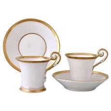 Nymphenburg pair of 'Empire' mocha cups & saucers