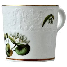 Spode embossed coffee can, beautifully painted with lilies, 1812