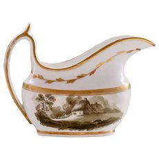 Spode 'New Oval' creamer with painted landscapes, 1805-1810