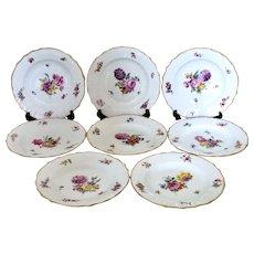 Antique Royal Copenhagen set of dessert plates, 'Saxon Flowers'