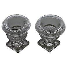 Rare pair of Irish Regency turnover glass salts, c.1815