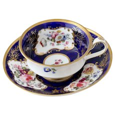 Minton finely painted 'French shape' cup & saucer, ca. 1827