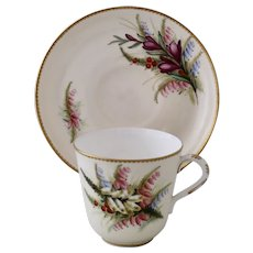 Royal Worcester cup & saucer, hand-painted foxgloves, mint condition, 1906