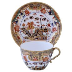 Early Spode rich Imari-style teacup & saucer, 1806